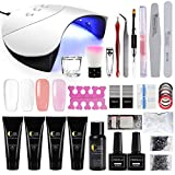Kit Poly UV Gel Extension Construction Gel Manucure 36W UV/LED Lampe Sèche Ongle Quick Building Base Coat Top Coat Nail Art Set