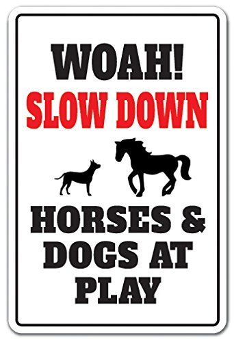 Neuheit Pferd (SignMission Slow Down Pferde & Hunde AT PLAY Neuheit Schild Animal Witz Speed Limit fahren)
