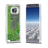 Etui Samsung S7 Edge, Coque Galaxy S7 Edge, RosyHeart Bling Glitter Briller Sable Flowing Sand Liquid Coque pour Samsung Galaxy S7 Edge - Dur Rigide Housse Anti Choc Mince Légère Transparent Cover - Vert clair