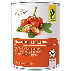 Raab Vitalfood Bio Hagebutten-Kapseln, ohne Zusätze, vegan, hochdosiert, mit natürlichem Vitamin C für eine normale Knorpel- und Kollagenbildung, Hagebutte, 150 Stück à 750 mg, 1er Pack (1 x 129 g)