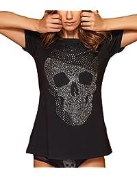 d96ef13be816 Top Damen Strassstein T-Shirt Totenkopf Strass Shirt Skull Totenkopfshirt  Schwarz
