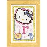 Vervaco - Kit para cuadro de punto de cruz, diseño de Hello Kitty con la letra R, multicolor