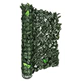 Blumfeldt Fency Dark Leaf Sichtschutzzaun Windfang Windschutz für Privatsphäre auf Balkon, Terrasse oder im Garten (300x100 cm, Kunststoff-ummantelt, Gitternetz 6 x 6cm Maschenweite) dunkelgrün