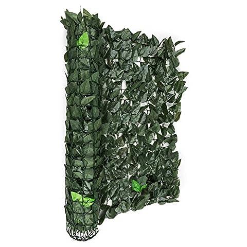 Blumfeldt Fency Dark Leaf • Sichtschutz • Windschutz • Lärmschutz • 300 x 100 cm • Buchenblätter • hohe Blickdichte • kunststoffummanteltes Gitternetz • 6 x 6 cm Maschenweite • grüne Flexbinder zur Befestigung • einfache Anbringung •