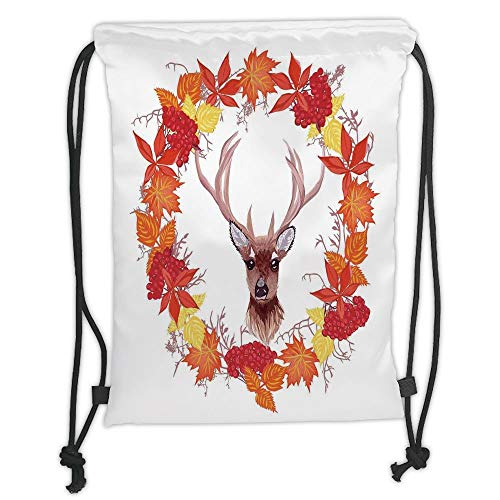 Fashion Printed Drawstring Backpacks Bags,Fall Decorations,Reindeer Head in Rounded Wreath Frame Made with Aesthetic Fall Leaves,Brown Orange Soft Satin,5 Liter Capacity,Adjustable String Closure,
