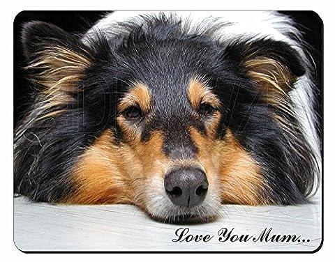 Border Collie Dog 'Love You Mum' Tapis de souris d'ordinateur pad cadeau de Noël