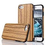 LCHULLE iPhone 6/6S Hülle (4,7 Zoll), Premium Handmade [Echtes Holz Rücken Flexibel] TPU Silikon Ultra Slim Back Schutzhülle-Teakholz Holz