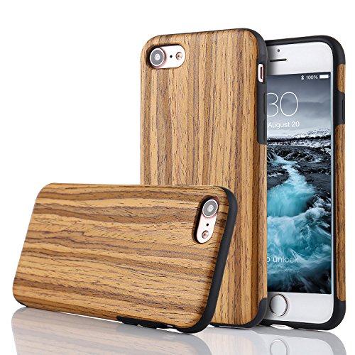LCHULLE iPhone 5/5S/SE Hülle, Premium Handmade [Echtes Holz Rücken Flexibel] TPU Silikon Ultra Slim Back Schutzhülle-Teakholz Holz Farbe