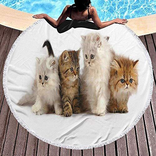 Olga Vaughan Runde Strandtuch Decke Katzen und Freunde werfen indische Tapisserie Quaste Fransen Mikrofaser Kreis Stil übergroße extra große Matte Tischdecke/Tischdecke - Haustier-matte Mikrofaser