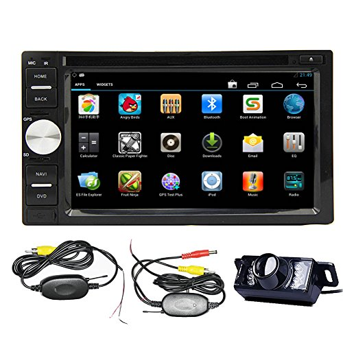 "PC High Def Wireless Rear BT Kamera Eingeschlossen 2015 Bestseller 3D CD Android 4.2 Doppel-DIN-6.2 ""Zoll Transmitter kapazitiver Touch Screen Car Stereo Automotive DVD-Player Radio im Schlag GPS Bluetooth Navi Navigation Unterst¨¹tzung 3G Wifi OBD2 Video Bluetooth DVR 1080P Air Wiedergabe SD Deck USB AM FM Radio 7 Farbtafel-Leuchten Audio CPU: Dual Core CORTEX A9,1.2GHz Frequenz in Universal-8GB iNAND RAM DDR3 1GB PC 3D UI Design Freie Sicherungs erbaute Revering Parken-Kamera"