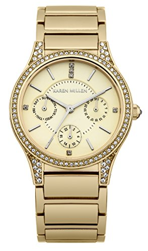 Karen Millen Women's Quartz Watch with Gold Dial Analogue Display and Gold Stainless Steel Gold Plated Bracelet KM107GM