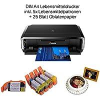 LEBENSMITTELDRUCKER SET DIN A4 zum Bedrucken von Esspapier inkl. 5 Lebensmittelpatronen und verschiedenen (essbaren) Papiersorten (IP7250 + Oblatenpapier)