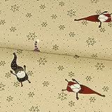 Dekostoff Weihnachtswichtel und Schneeflocken beige rot