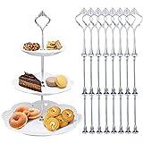MOOKLIN Etagere Bausatz Etageren Stangen Set, 8 Set Silber Metallstange Mittellochausstech 2 bis 3 Etage für Tortenhalter Tor
