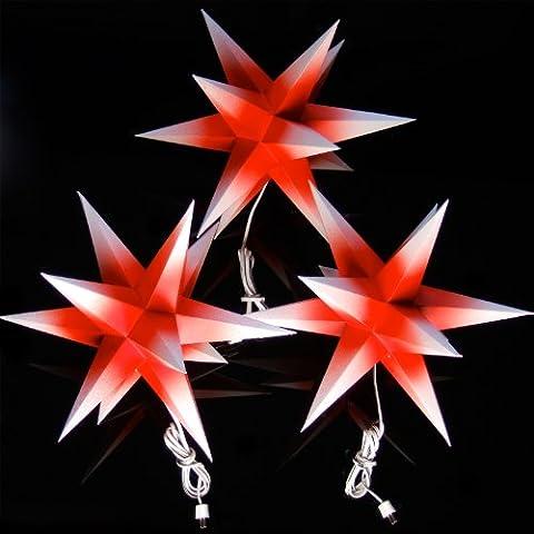 3er Set beleuchtete Sterne aus Papier, rot mit weißen Spitzen, 3d Weihnachtssterne fürs Fenster - Bockelwitzer Stern (Art.Nr.206) inkl. Netzteil mit 3-fach-Verteiler, Fenster-Clip und Distanz-Stab, Durchmesser 19 cm, Papier, komplett handgefertigt, für den Innenbereich