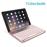 Keyboard Case for iPad PRO 9.7 Inch/iPad Air 2-LED 7 Colors Backlit Bluetooth