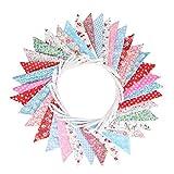 Süße Beidseitig Wimpel Girlande, 10M Bunting Wimpelkette mit 36 STK Farbenfroh Wimpeln für Hochzeits Geburtstag Party