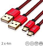 2 x 4m Nylon PS4 Ladekabel für Playstation 4 Controller, Zwei rot-Schwarze Micro USB Kabel mit Stoffmantel & Aluminium Steckern