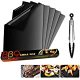 Trongle BBQ Grill Mat Set of 5, Lambony Non Stick Reusable Barbecue Grill & Bake Mats For Oven, Gas, Charcoal, Electric Grill
