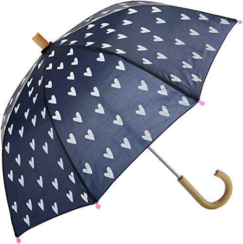 Hatley Mädchen Printed Umbrella Regenschirm, Blue (Navy/White Hearts), One Size Navy Blue Raincoat