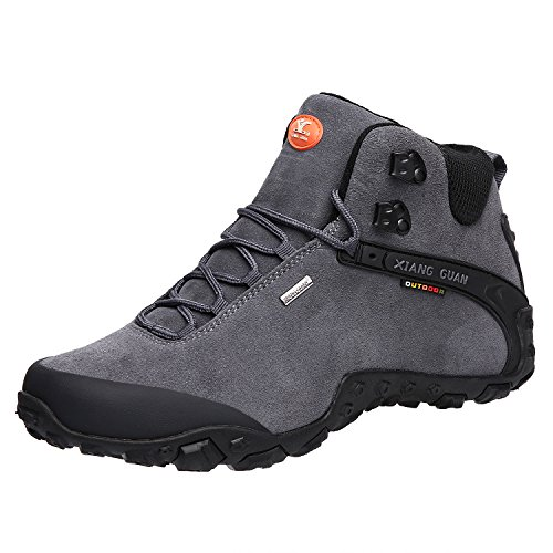 XIANG GUAN Herren Outdoor Schuhe Wanderschuhe Wasserdichte Trekkingschuhe Rutschfeste Wanderstiefel Winter 82287 Grau 43