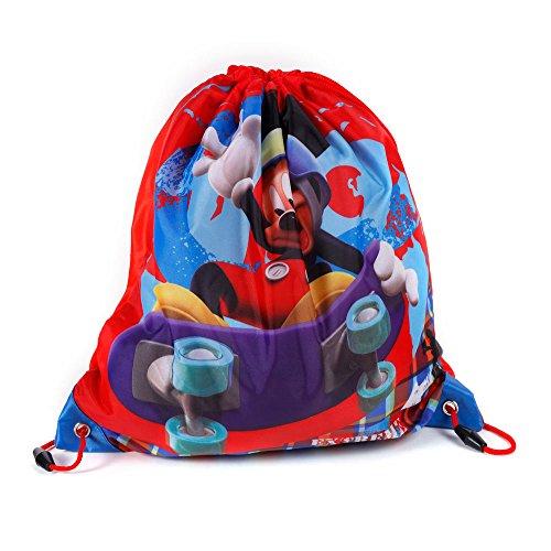 Kinder Turnbeutel/SPORTBEUTEL 36x32 cm - Disney Micky Maus - ROT/BLAU -
