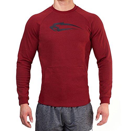 SMILODOX Sweatshirt Herren   Sweater für Sport Fitness & Freizeit   Longsleeve - Langarmshirt Pulli   Sportpullover - Pullover Langarm - Sportshirt mit Aufdruck Dunkel Rot