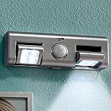 Heitech 04002927 LED-Lichtleiste mit Bewegungsmelder Silber