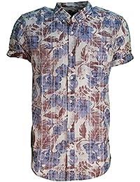 Hommes Soulstar Waiki Chemise Coton Floral Imprimé Carreaux Col Bouton Haut