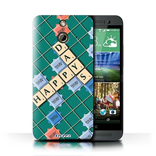 Kobalt® Imprimé Etui / Coque pour HTC One/1 E8 / Pratique Parfaite conception / Série Mots de Scrabble Jours Heureux