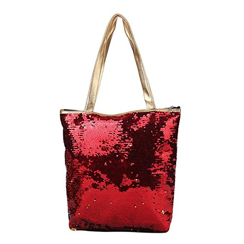 Pailletten-hobo Handtasche (Huihong Damen Mädchen Mode Zwei Ton Pailletten Einkaufstasche Glitter Nixe Studentenschule Umhängetasche Handtasche mit Reißverschluss (A))