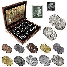 IMPACTO COLECCIONABLES Monedas Antiguas - 12 Monedas + 2 Sellos de Alemania, Colección Segunda Guerra