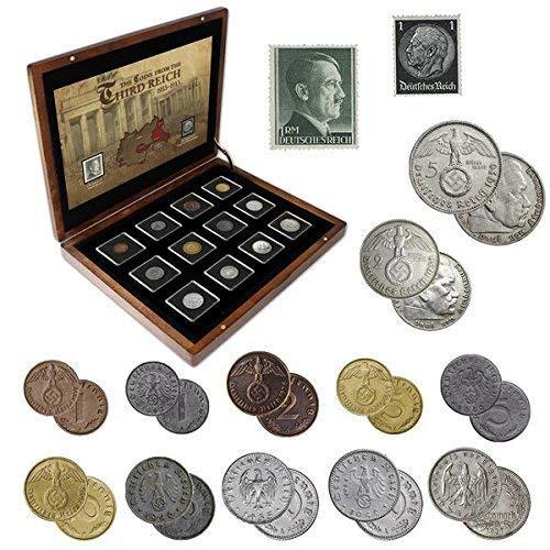 IMPACTO COLECCIONABLES ANTIKE Münzen - 12 Münzen + 2 Briefmarken aus Deutschland, Sammlung aus dem Zweiten Weltkrieg 1939-1945