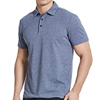 Men's Cotton Polo Shirts, Short Sleeve Athletic Golf Polo Shirts for Men Blue