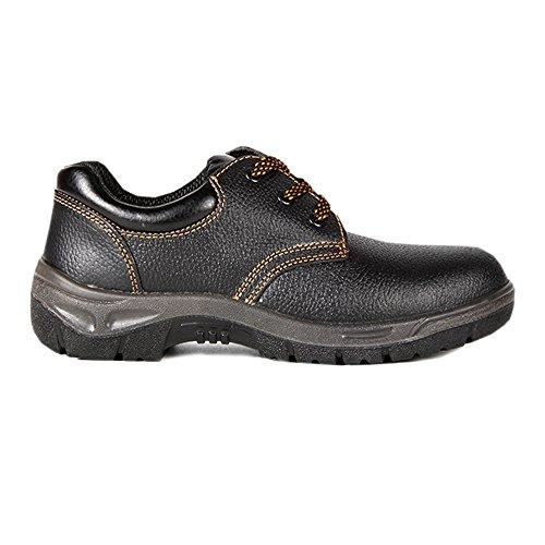 S1, Schuhe, Leder Sicherheitsschuhe Herren - wasserdichte Schuhe, mit rutschfeste Profilsohle, Schwarz, Stahlkappen Schuhe Herren Sehr Bequeme, Sicherheitsstiefel für männer ()