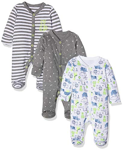 Mothercare Baby-Jungen Happy Animals Sleepsuits - 3 Pack Formender Body, Grau (Grey Marl 188), 86 cm/12-18 Monate
