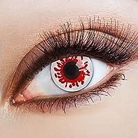 aricona Farblinsen Zombie Kontaktlinsen weiß   gruselige Jahreslinsen für dein Halloween Kostüm farbige 12 Monatslinsen für ein Horror Make up