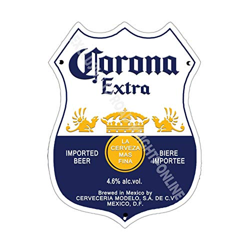 CORONA EXTRA BLONDE bière publicité BARRE ancienne bar pub boissons PUMP BADGE Brewery Tonneau KEG Draught véritable Ale Pinte ALCOOL HOUBLON forme métal / ACIER MURAL - 27 x 20 cm