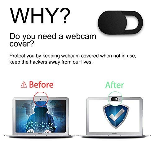 GEARGO Cache Webcam, Webcam Cache glissière de Protection Webcam, 0.76mm Laptop Webcam Cover Thin s'adapte aux Macboook Pro, iMac, Smartphones,Ordinateurs Portables (3 pièces)