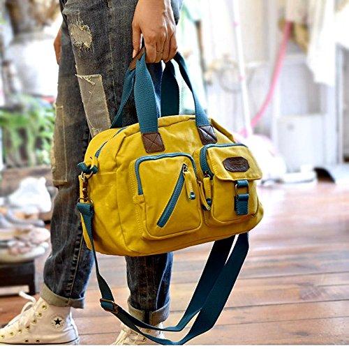&ZHOU femminile borsa di tela borsa a tracolla grande capacità zaino Messenger Messenger bag di svago di modo 32 * 15 * 27 centimetri , yellow Yellow