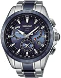 Seiko Astron Quartz Uhr, Titan, Keramisch, Blau, 45 mm, Tag und Datum, SSE043J1
