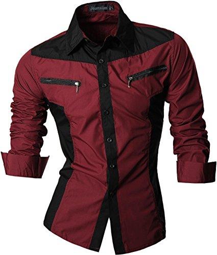 jeansian Herren Freizeit Hemden Shirt Tops Mode Langarmshirts Slim Fit Z018 WineRed