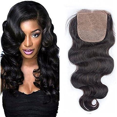 Sunwell Free parte 10,16 (4 10,16 cm x cm, Seta Fondo (4 chiusura Body Wave Brazilian Virgin capelli con imbianchimento di nodi per capelli, colore naturale, 20,32 cm (8