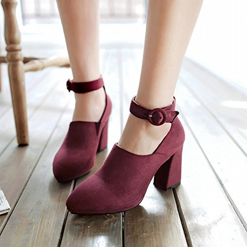 Mee Shoes Damen chunky heels Ankle strap Nubukleder Pumps Weinrot