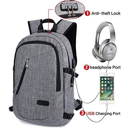 Anti Diebstahl Wasserdicht Polyester Laptop-Rucksack Mit USB Aufladung Port und Schloss, Passt Unter 15,6 Zoll Laptop, Business Travel University Computer Schultertasche (Grau) -