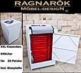 PolyRattan Kissenbox DEUTSCHE MARKE -- EIGNENE PRODUKTION 8 Jahre GARANTIE Garten Möbel incl. Glasplatte für 20 Sitzkissen Ragnarök-Möbeldesign (Alpina Weiß) Gartenmöbel Gartentisch Aluminium Rattan Beistelltisch, Stehttisch