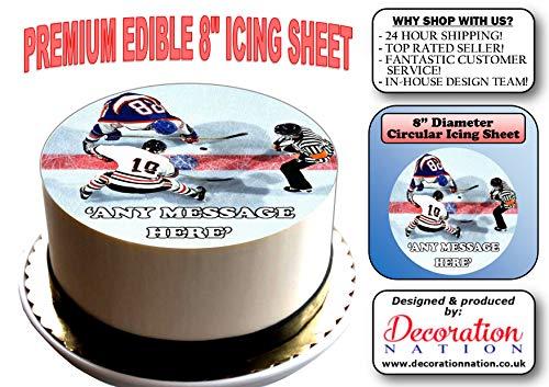 Kuchendekoration Eishockey, rund, essbar, 20,3 cm