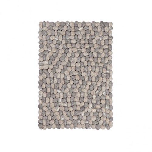 Hardy Filzkugelteppich in Kieselsteinoptik eckig - 100 x 70cm - hellgrau