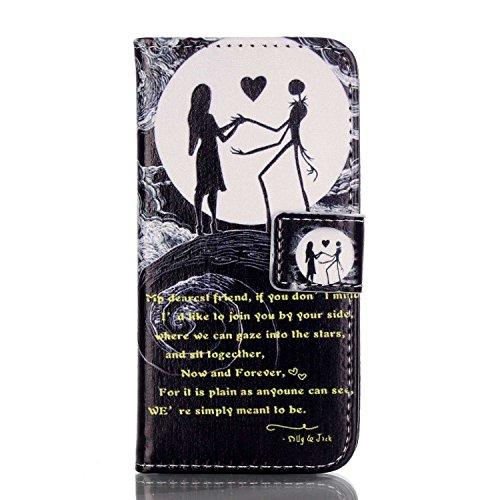 Meet de Flip Case / Housse / Portefeuille / Cover Étui pour Apple iPhone 5C Housse étui coque Case Cover smart flip cuir Case à rabat Coque de Protection en Cuir Flip Livre en Cuir Avec des Cartes de Crédit Slot et Fonction Support - couple, lune