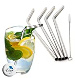 Chuzy Chef Stainless Steel Straws Set Of 4, Free Cleaning Brush Included Strongest Metal Reusable Eco Friendly Drinking Straws 8.5 Silver